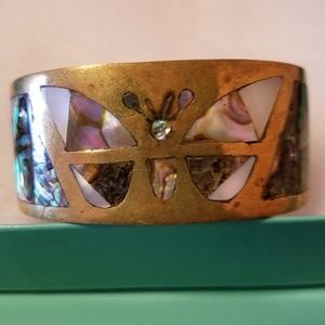 Vintage Signed Inlaid Abalone & MOP Cuff Bracelet